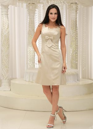 Straps and Appliques Dress for Bridesmaids with Bowknot in Champagne