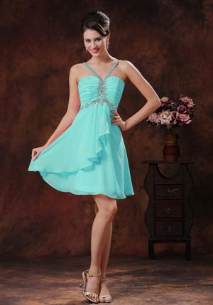 Beaded Decorated V-neck and Straps Back Bridesmaid Dresses in Baby Blue