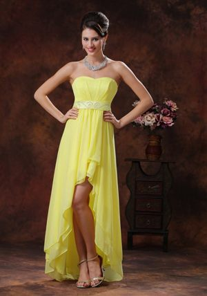 Weirs Beach Light Yellow High-low Dress for Bridesmaids with Belt Decoration