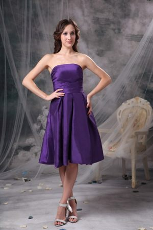 Somersworth Purple Bridesmaid Dress for wedding with A-line to Knee-length