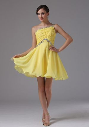 One Shoulder Yellow for Dress for Bridesmaids with Ruched and Beading