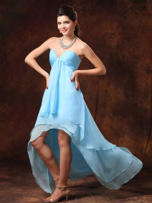 Baby Blue High-low Sweetheart 2013 Dress for Bridesmaids with Beading