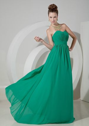 Turquoise Empire Sweetheart Bridesmaids Dresses with Chiffon Overlay