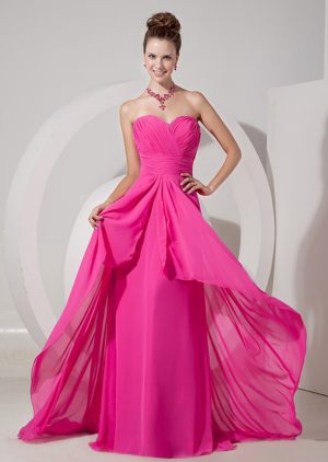 Hot Pink Sweetheart Plus Size Bridesmaid Dresses Attached Brush Train