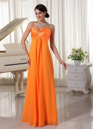 Orange Sweetheart Ruched and Beaded Dress for Bridesmaids to Floor