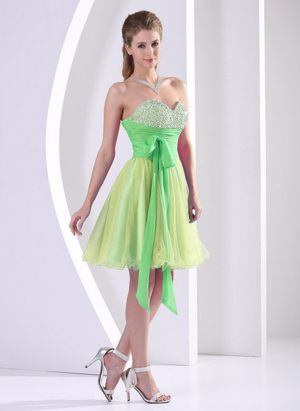 Beaded Decorated Sweetheart Multi-color Dresses for Bridesmaid with Sash