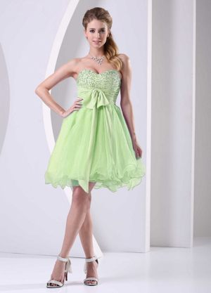 Yellow Green Sweetheart Beaded Sash Short Dress for Bridesmaids Dresses