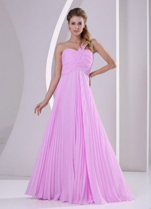 Pink One Shoulder Pleating Empire Bridesmaid Dress for Wedding Party