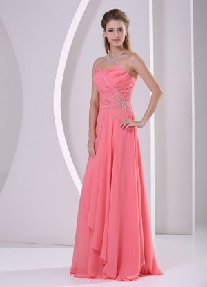 Watermelon Red Sweetheart Beaded and Ruched Dresses for Bridesmaid