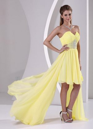 High-low Sweetheart Beaded Detachable Dresses for Bridesmaids in Yellow