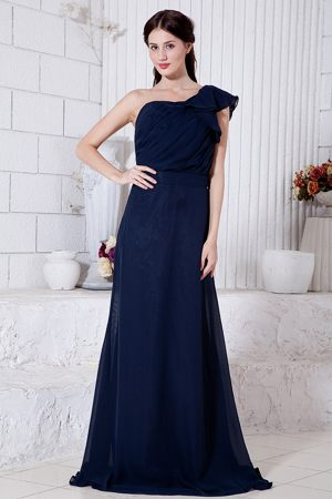Navy Blue One Shoulder Ruche Dresses for Bridesmaid Attached Brush