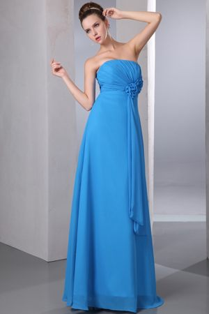 Teal Empire Handle Flower and Ruching Plus Size Bridesmaid Dresses