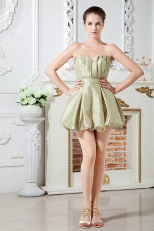 Olive Green A-line Sweetheart Mini Dress for Bridesmaids Decorated Ruche
