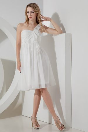 White Empire One Shoulder Bridesmaid Dresses for wedding to Knee