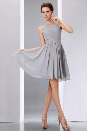 Pretty Scoop Ruching Cocktail Dresses in A-line to Knee-length in Grey