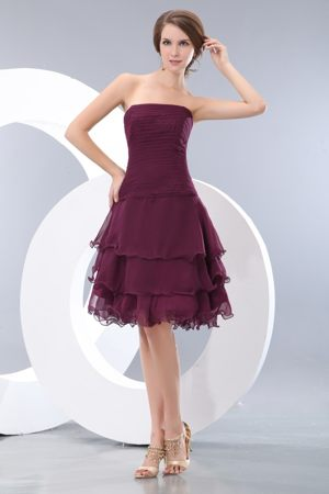 Burgundy Strapless Mini Ruche Bridesmaid Dresses in A-line with Layers