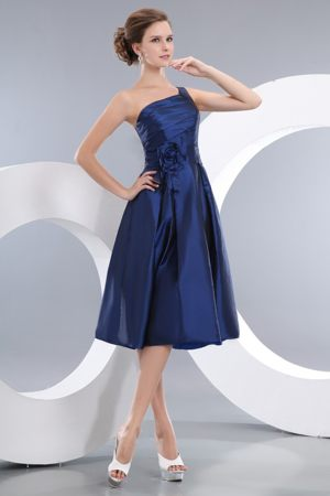 Navy Blue Asymmetrical One Shoulder Handle Flowers Bridesmaid Dresses