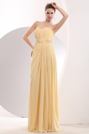 Light Yellow Beading Bridesmaid Dresses for wedding Attached Brush Train