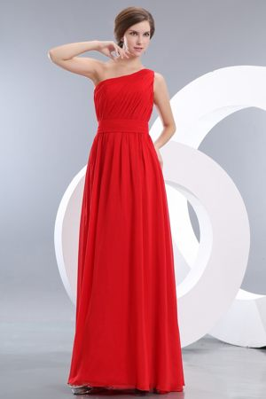 Empire One Shoulder Bridesmaid Dresses for Church Wedding in Red