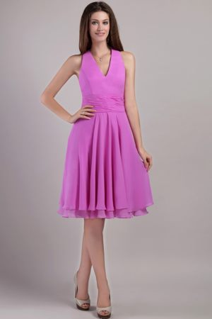 Lavender Halter Top with V Neck Dresses for Bridesmaid to Knee-length