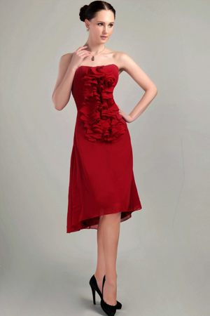 Ruffles Front for Wine Red Sheath Asymmetrical Dresses for Bridesmaid