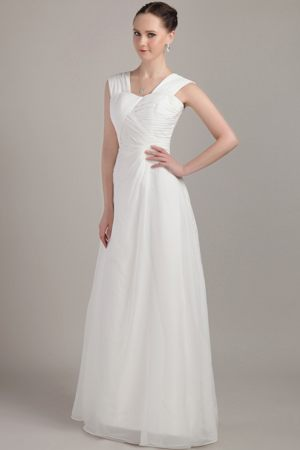 White Straps Ruche 2013 Bridesmaid Dresses in Empire to Floor Length