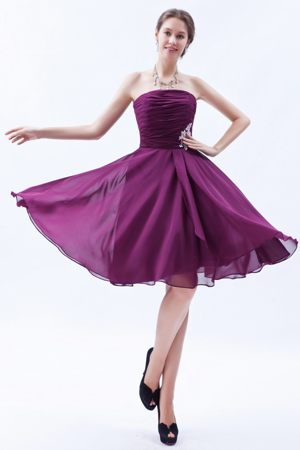 Appliques Decorated Waist Dark Purple Dress for Bridesmaids to Knee