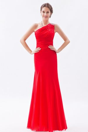 Red Beading Asymmetrical One Shoulder Plus Size Bridesmaids Dresses