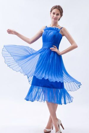 Blue Straps Organza Bridesmaid Dresses for wedding with Ruche to Tea