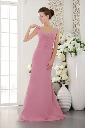 Baby Pink V-neck Sweep Ruche Plus Size Bridesmaid Dresses in Sheath