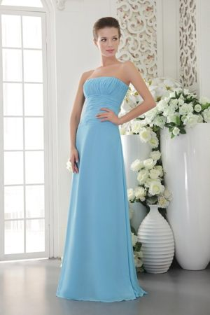 Light Blue Empire Strapless Ruching Dresses for Bridesmaids to Floor