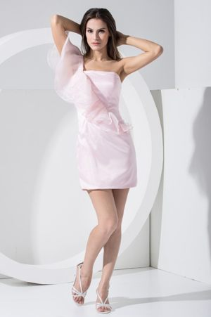 Ruffles and Single Shoulder Sheath Mini Bridesmaids Gown in Light Pink