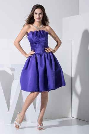 Seabrook Ruche Decorated A-line Purple Bridesmaids Dresses with Ruffled