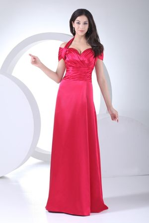 Halter Top and Ruched Cap Sleeve Bridesmaid Dress for Women in Red