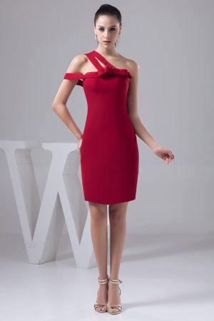 Asymmetrical Red Mini Maternity Bridesmaid Dress for Weddings with Bow