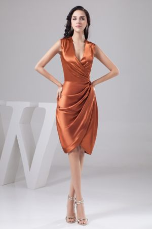 Ruched Bridesmaid Dress for Weddings with Surpliced V-neck in Orange