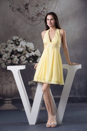 Beaded Appliques Accent Halter Light Yellow Bridesmaid Dress in Meredith