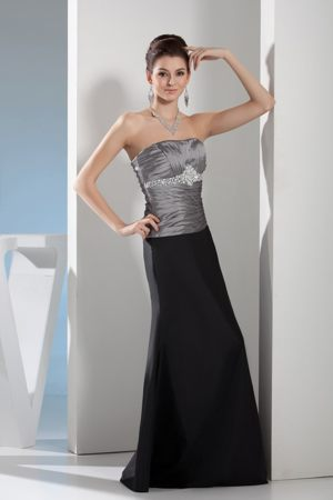 Silver and Black Sweetheart Ruched and Beaded Maternity Bridesmaid Dress