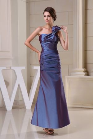 One Shoulder Ruched Bridesmaid Dress for Church Wedding to Ankle-length