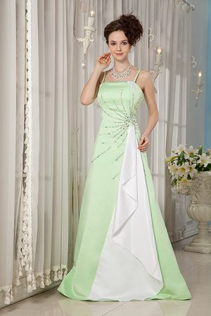 Yellow Green Spaghetti Straps A-line Beading Popular Bridesmaid Dress