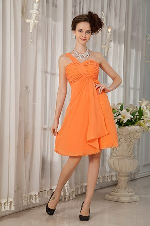 Ruche One Shoulder Princess Bridesmaid Dresses Under 100 in Orange