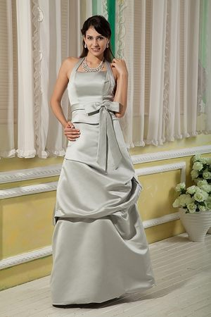 Grey Bridesmaid Dress with Halter Top Decorated Bowknot in Hampstead
