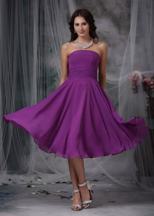 Purple Strapless Ruche Sash Prom Dress Made in Chiffon to Tea-length