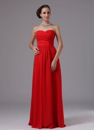 Red Sweetheart and Ruched In Arizona for Bridesmaid Dress to Floor-length
